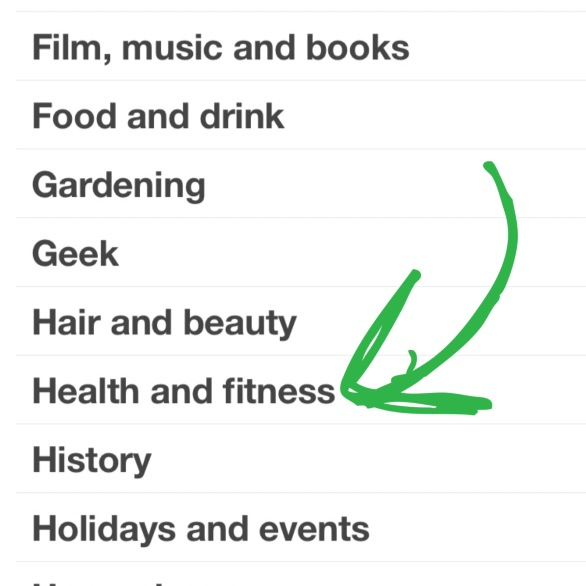 """Check the """"Health and Fitness"""" category under the search function."""